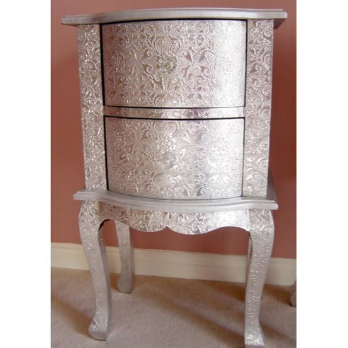Silver embossed metal bedside 2 drawer chest table