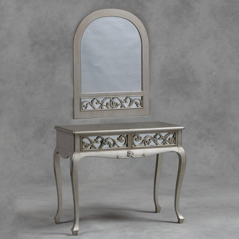 Silver vintage fretted french dressing table and mirror set