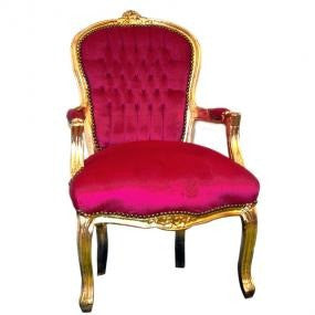 Hot pink velvet gold frame french arm chair