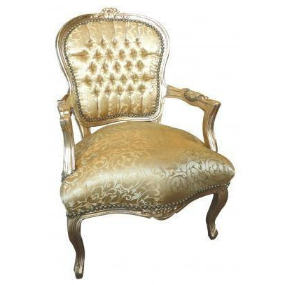 Gold floral damask french arm chair