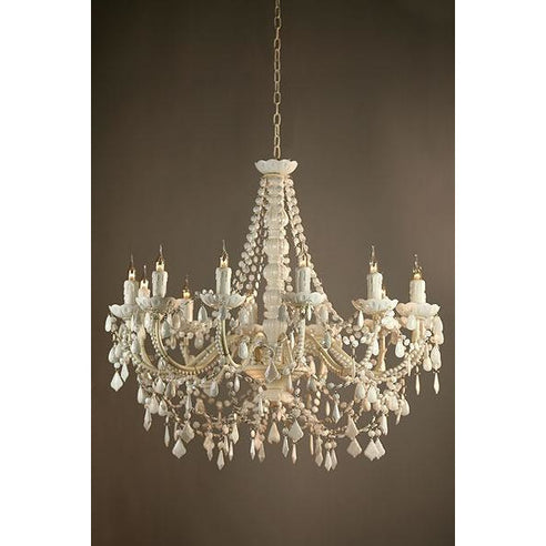 Shabby chic Marie Therese white acrylic chandelier 12 arm