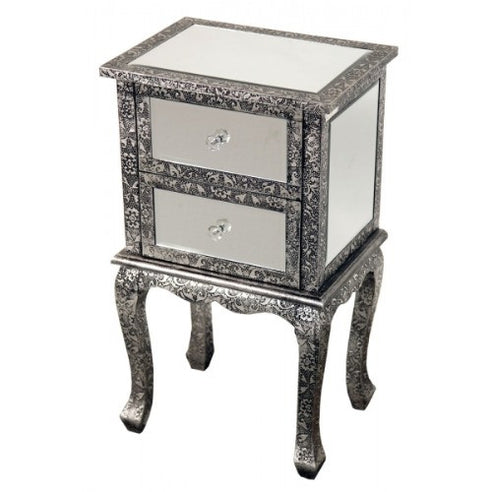 Blackened silver embossed mirrored bedside