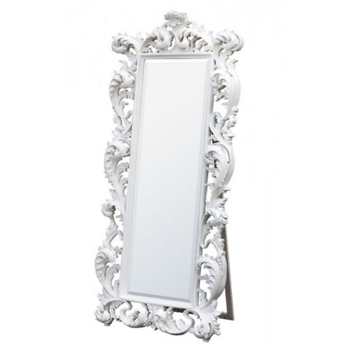 French white rococo large cheval mirror