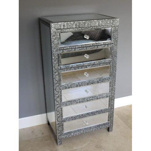 Blackened silver embossed metal mirrored large tallboy