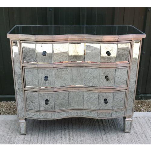 Venetian antiqued glass large chest of drawers