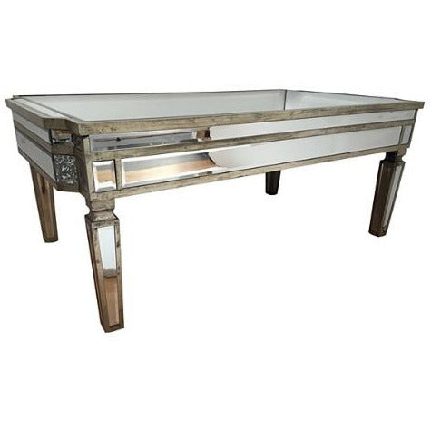 Mirrored venetian glass silver gilded coffee table