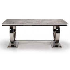 Vida Arianna Grey Marble Polished Stainless Steel 200cm Dining Table with 6 Cassia Grey Chairs