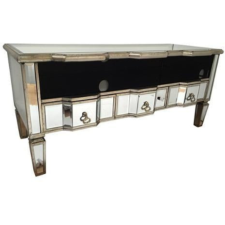 Venetian mirrored silver gilded TV /media unit