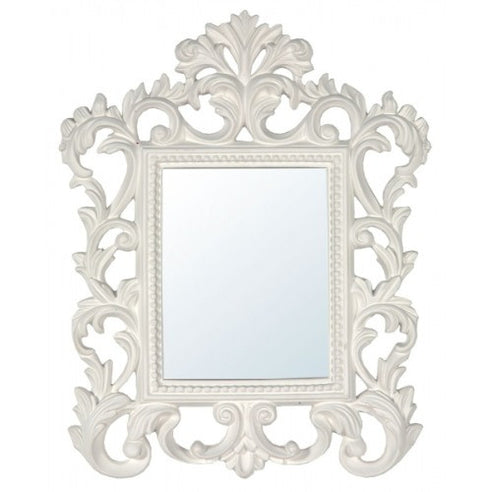 Antique white french baroque style mirror