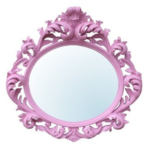 Large pink french vintage rococo mirror