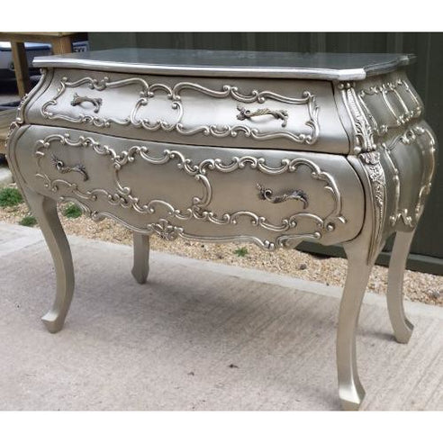 Silver french rococo chest of drawers