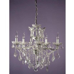 Shabby Chic Laura Silver Chandelier - 5 Arms (Ceiling Light)
