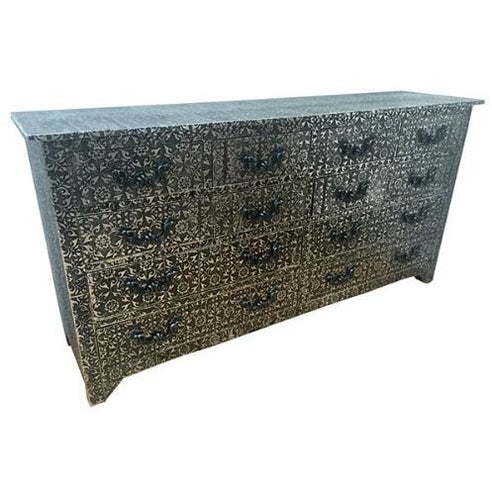 Blackened silver large embossed metal sideboard chest