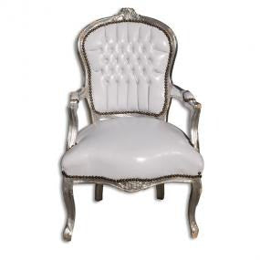 Silver and white french arm chair
