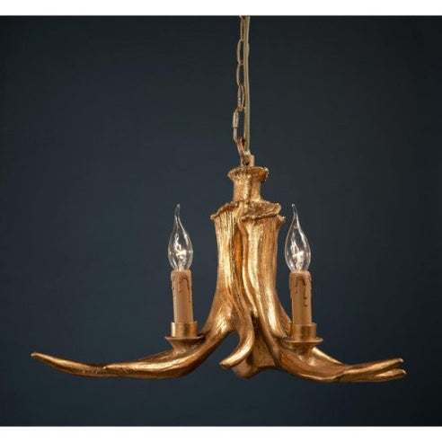 Gold Antler Chandelier - 3 Arm