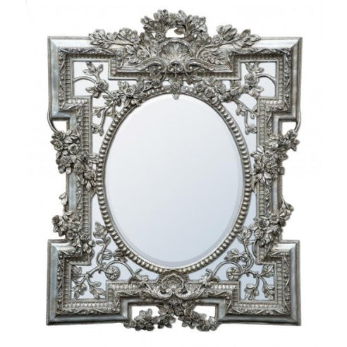 French rococo silver shabby chic mirror