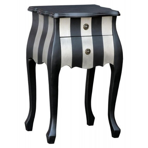 Silver and black french bombe bedside table - medium