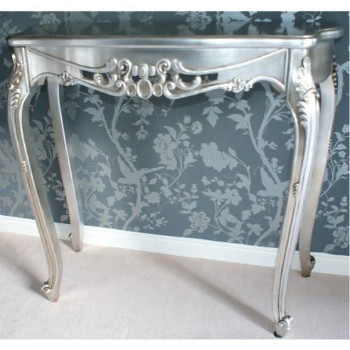 Silver gilt french shabby chic console dressing table