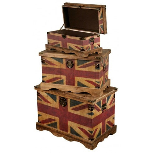 Union jack vintage storage trunks
