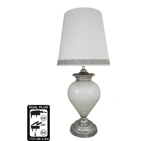 Turin White Pearl Regency Statement Lamp with White/Silver Shade (48 x 110cm)