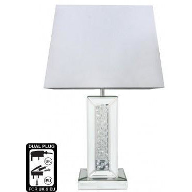 "Mirrored Savoy Table Lamp with 17"" White Shade (43 x 25 x 69cm)"