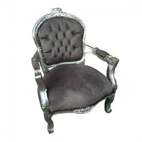 Childs grey velvet french arm chair