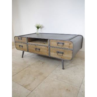 Retro Industrial 50's Style Metal/Wood Coffee Table (119 x 61 x 45cm)