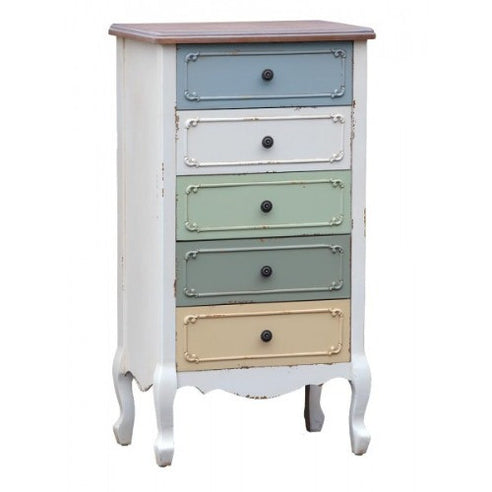 Orleans multi colour french tallboy chest of drawers