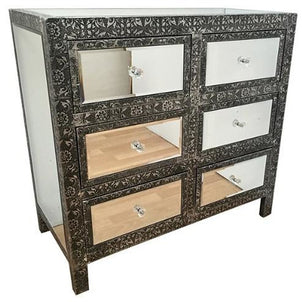 Blackened Silver Embossed Metal Chest Of 6 Drawers