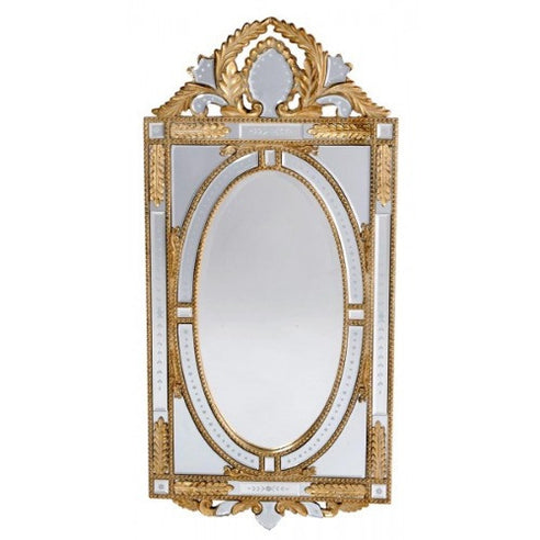 Venetian glass gold etched mirror with crown