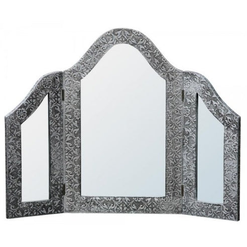 Blackened silver dressing table embossed metal  tri-mirror
