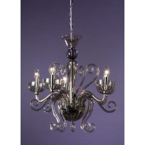 French style grey acrylic Sylvia chandelier 5 arm