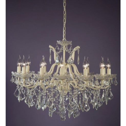 Shabby chic laura large cream 12 arm chandelier