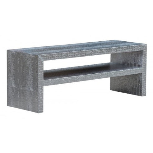 Mock croc embossed silver coffee table