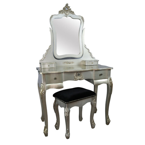 Silver Gilt French Style Shabby Chic Dressing Table, Mirror, and Stool Set