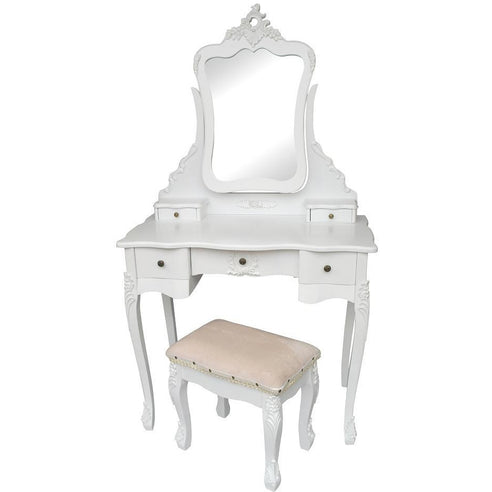 Laura White Dressing Table, Mirror and Stool Set (88 x 45 x 157cm)
