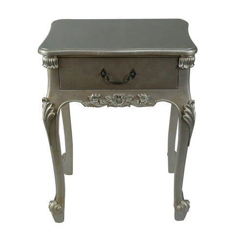 Silver Gilt French Style Bedside Table / Cabinet with Drawer (50 x 69 x 35cm)