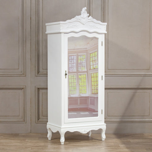 Laura White French Single Mirrored Armoire (1 Door, 75 x 52 x 195cm)