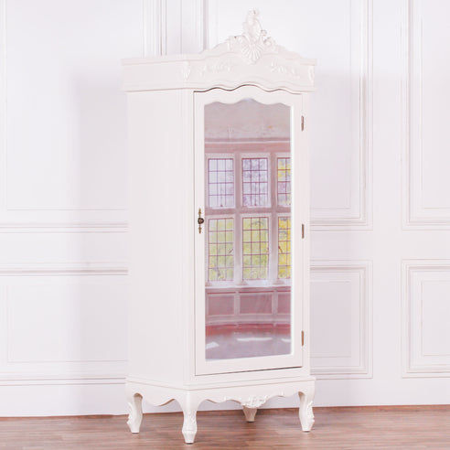 Antique White French Single Mirrored Armoire (1 Door, 75 x 52 x 195cm)