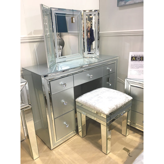 Grey Metro Mirrored 7 Drawer Dressing Table (120 x 44 x 85cm)