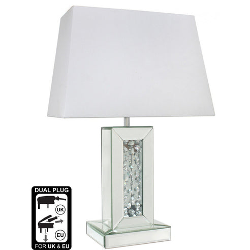 "Small Mirrored Savoy Table Lamp with 16"" White Shade (40.5 x 22.5 x 60cm)"