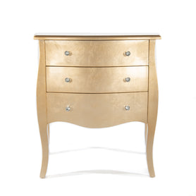 Alchemist Gold Gilt Leaf French Bombe Chest of Drawers (75 x 40 x 80cm)