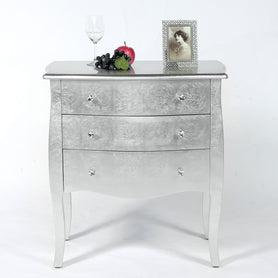 Alchemist Silver Gilt Leaf French Bombe Chest of Drawers (75 x 40 x 80cm)