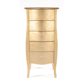 Alchemist Gold Gilt Leaf French Bombe Tallboy Chest of Drawers (36 x 48 x 100cm)