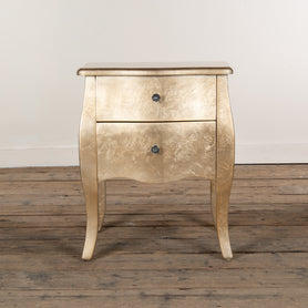 Alchemist Gold Gilt Leaf French Bombe Bedside Table (50 x 39 x 60cm)