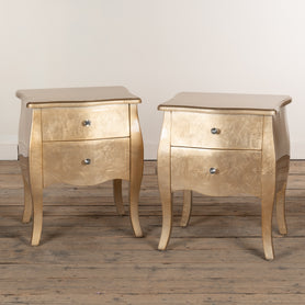 Alchemist Gold Gilt Leaf French Bombe Pair of Bedside Tables (50 x 39 x 60cm)