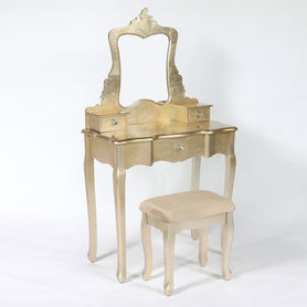 Alchemist Gold Gilt Leaf French Dressing Table and Stool Set