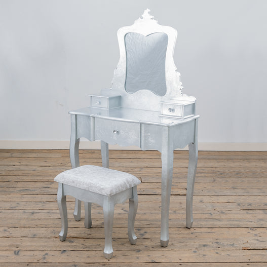 Alchemist Silver Gilt Leaf French Dressing Table and Stool Set