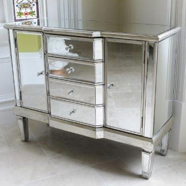 Venetian Glass Vintage Glam Mirrored Sideboard Cabinet (100 X 40 X 81cm)