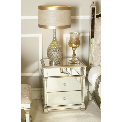 Athena Champagne Silver Venetian Mirrored 3 Drawer Chest (55 x 42 x 61.5cm)